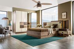 Power Yatak Odası, Kargılı Mobilyada. Bedroom Furniture Sets, Bedroom Bed, Bed Room, Bed Back, Round Design, Restaurant, Home Decor, Side Tables, Futuristic