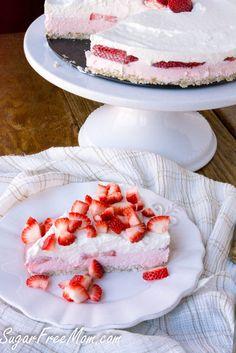 Sugar Free Low Carb Strawberry Mousse Pie- gluten free, grain free, no bake- sugarfreemom.com
