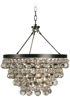 Bling Convertible Bronze Crystal Robert Abbey Chandelier -
