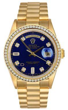 Rolex Mens 18K Yellow Gold President Day Date, Custom Added Blue Diamond Dial & Diamond Bezel.