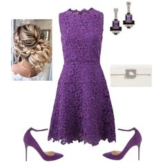 Something Purple - Fashion look Chic Outfits, Dress Outfits, Fashion Outfits, Red Frock, Polyvore Dress, Lace A Line Dress, Cocktail Outfit, Wedding Dress Patterns, Frack