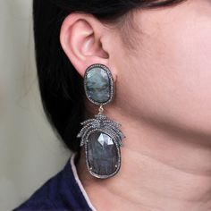 Labradorite Dangle Earrings Sterling Silver Diamond Pave 14k Gold NEW ARRIVALS!! #Handmade