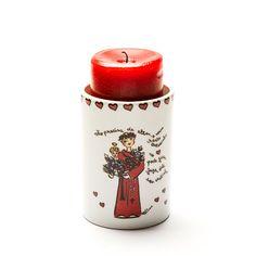 Porta-vela (que pode ser usado como vaso e fica lindo!) com tema Santo Antônio!  #handmade #porcelana #porcelanadecorada #porcelanapersonalizada #decoração #decor #pintadoamão #feitoamão #brasil #brazil  #lembrançadoBrasil #homedecor #porcelain #santoantônio #casamenteiro