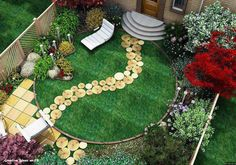 Nice to have the round grassy area, then bushes,trees and a tiled area