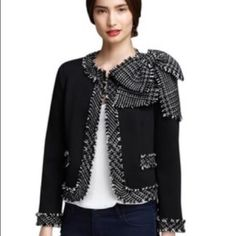 Alice and Olivia cropped jacket, large bow detail Tweed cropped jacket with hook closures and large bow detail on left shoulder, so cute! Alice + Olivia Jackets & Coats