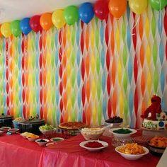 Get Your Craft On: Elmo& World Birthday- streamer wall Birthday Streamers, Rainbow Birthday Party, Elmo Birthday, First Birthday Parties, First Birthdays, Birthday Ideas, Rainbow Parties, Sesame Street Birthday Party Ideas, Birthday Balloons