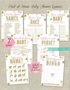 Pink and Gold Name That Song Baby + Answer Key Baby Shower Games Printable  Have your guests fill in the blanks with the song title. They all have the word Baby in the title!  This listing is a DIGITAL DOWNLOAD. You will not receive anything in the mail.  WHAT YOU GET: -1 PDF contains 2 Name That Song Baby Shower Games on an 8.5x11 page with crop marks (perfect for home printing.) -1 PDF contains an answer key on an 8.5x11 page Finished size is 5x7. ORDER PROCESS 1. Purchase the listing 2…