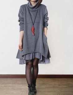 Gray cotton dress layered dress Turtleneck dress cotton tops large sweater cotton blouse casual loose dress cotton shirt plus size dress