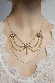 Items similar to Bridal Necklace Golden Vintage Flower Bride Necklace Victorian choker Crystals Rhinestone Pearl Wedding Necklace Bride Necklace Flowers on Etsy Bride Necklace, Pearl Necklace Wedding, Rhinestone Jewelry, Crystal Rhinestone, Pearl Bridal, 1920s Jewelry, Vintage Wedding Jewelry, Art Deco Jewelry, Bridal Jewelry