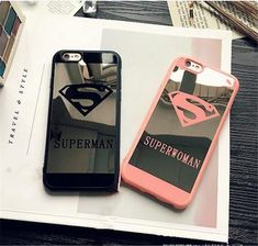 Fashion Super Couple Hero Soft Mirror Case Cover For iPhone 5 6 7 Plus Matching Phone Cases, Girly Phone Cases, Iphone Cases Disney, Iphone Phone Cases, Cellphone Case, Couples Phone Cases, Friends Phone Case, Accessoires Iphone, Mobile Cases