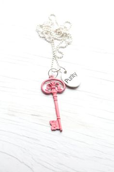 Dark pink Key Necklace . Purity . Ball chain . Hand painted .