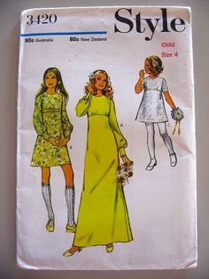 Vintage 1971 Dress or Bridal Style Sewing Pattern Girl Size 4 UNCUT
