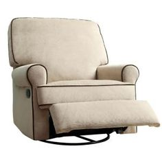 Transform the look of your bedroom instantly by using this PRI Birch Hill Tan Fabric Swivel Recliner. Rocker Recliner Chair, Glider Recliner, Small Recliners, Converted Vans, Square Side Table, Accent Chairs For Living Room, Cool Chairs, Soft Fabrics, Furniture