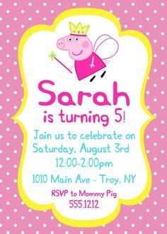 Invitación fiesta de cumpleaños de Peppa Pig: por CollarCityDesigns