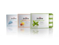 Trident Vitality. Wellness gum packaging design. ruthwaddingham.com