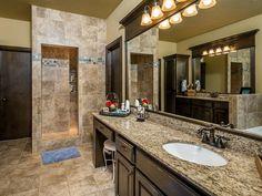 Sophisticated color palette and dark wood - #interiordesign #bathroom
