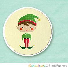 Christmas Elf Boy Cross-Stitch Pattern! So cute : )