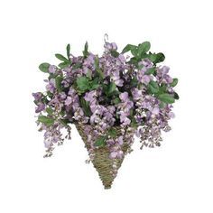 House of Silk Flowers Artificial Wisteria Hanging Plant in Cone Basket Flower Color: