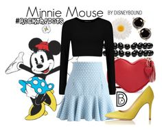 Minnie Mouse by leslieakay on Polyvore featuring polyvore, fashion, style, Chicwish, L.K.Bennett, Gucci, Kate Spade, Gerber, clothing, disney, disneybound, disneycharacter and RockTheDots