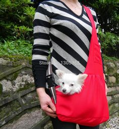 New Red Canvas Pet Sling Dog Cat Carrier Bag Free Shipping by CPAM Bag for dog