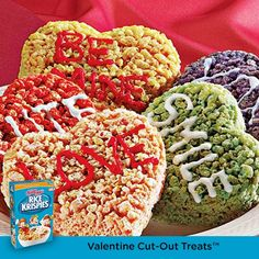 "Make these Rice Krispies Treats with your little Valentines. Use frosting to ""sign"" them with love!"