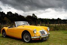 MGA Vintage Sports Cars, British Sports Cars, Classic Sports Cars, Vintage Cars, Antique Cars, Classic Cars, Jaguar, Mg Cars, Yellow Car