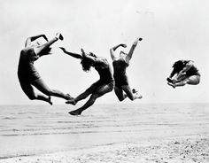 AMAZING  Four dancers from the International Institute of the Margaret Morris Movement rehearsing on the beach at Sandwich. By Reg Speller