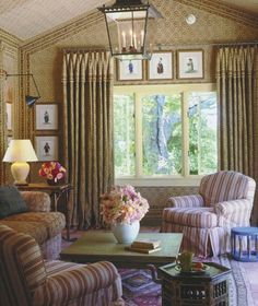 ~fabric walls and ceiling ~ love the small art prints - Michael S. Smith design
