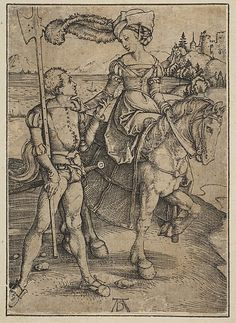 The Lady on Horseback and the Lansquenet, Albrecht Dürer