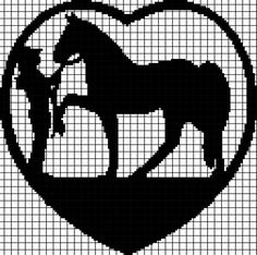 This crochet graphghan pattern is 156 x 217 squares, and comes with the written row-by-row instructions as well as the graph/chart. Filet Crochet Charts, Knitting Charts, Cross Stitch Horse, Cross Stitch Silhouette, Crochet Horse, Cowboy Crochet, Funny Cross Stitch Patterns, Fillet Crochet, Swedish Weaving