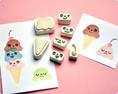 Ice cream changing face hand carved rubber stamp $25.00, via MemiTheRainbow on Etsy. I want want want this <3