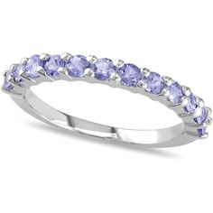 Allurez Semi Eternity Tanzanite Wedding Ring Band Sterling Silver... ($110) ❤ liked on Polyvore featuring jewelry, rings, white, wedding rings, sterling silver tanzanite ring, band jewelry, wedding band jewelry and band rings