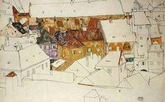 Die gelbe Stadt. 1914. ~ Egon Schiele  30,5 x 34,5 cm | Gouache/Aquarell
