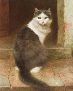 On the Stoop, Gray and White Cat by Wilhelm Schwar (German, 1860-1943)