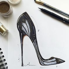 Fashion illustration - Brian Atwood shoe sketch // Anum Tariq