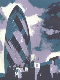 """""""The Gherkin, London"""" by Ian Scott Massie. Screenprint on Paper, Subject: Architecture and cityscapes, Impressionistic style, From a limited edition of 13, Signed and numbered on the front, This artwork is sold unframed, Size: 28 x 38 x 0.1 cm (unframed), 11.02 x 14.96 x 0.04 in (unframed), Materials: Acrylic ink"""