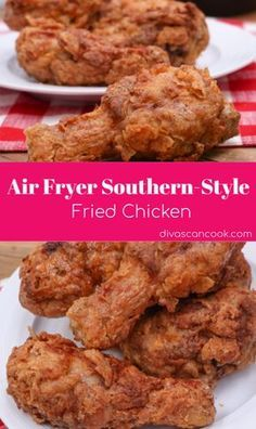 Crispy, golden Southern Fried Chicken cooked in the air fryer! Easy, mess-free fried chicken made with little oil. Air Fryer Southern Fried Chicken Recipe, Air Fryer Fried Chicken, Air Fried Food, Crispy Fried Chicken, Fried Chicken Recipes, Southern Chicken, Air Fryer Recipes Chicken Breast, Crispy Chicken Wings, Air Fryer Oven Recipes