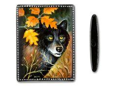 30x40mm Wolf in Autumn Brush on Black Onyx Rectangle Bead
