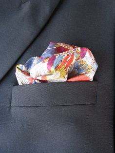 Mens Pocket Square The Man with the Golden Gun- Orange flowers