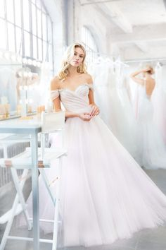 a479c9658212 Style 1809 Milo Blush by Hayley Paige bridal gown - Hydrangea draped tulle  bridal ball gown, sculpted sweetheart bodice, removable off-the-shoulder ...