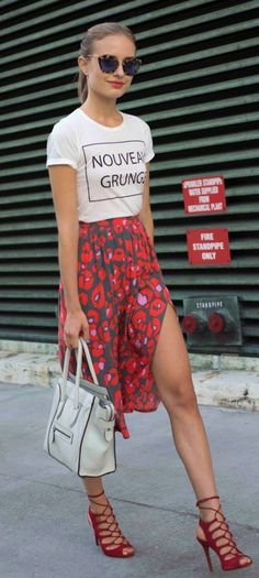 @roressclothes clothing ideas #women fashion white t-shirt, red skirt Shop the Look Saturday