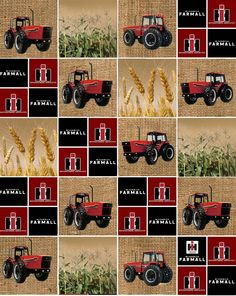 , Farmall Tractors and Logo Block Print. The burlap background would go with alot . , Farmall Tractors and Logo Block Print. The burlap background would go with alot of burlap projects. Burlap Projects, Quilting Projects, Quilting Designs, Sewing Projects, Quilting Ideas, Sewing Ideas, Tractor Quilt, Farm Quilt, John Deere Fabric