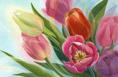 Reiko Hervin ~ Daydreaming Tulips ~ Watercolor