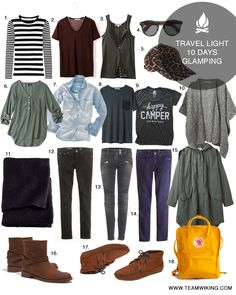 1. Striped Tee / 2. Oxblood Tee / 3. Button Down Tank / 4. Sunglasses / 5. Leopard Hat / 6. Green  Top / 7. Chambray Tee / 8. Pocket Tee / 9. Happy Camper / 10. Alpaca Cape / 11. Blanket / 12. Black Pants / 13. Black Denim / 14. Navy Cords /Read More