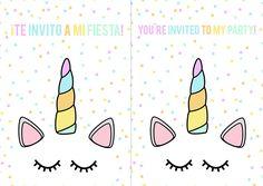 invitaciones imprimibles fiesta unicornios unicorn party