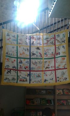 Patchwork made by childrens' stamps on tissue...thry will become the curtains of the sleeping rooms.....