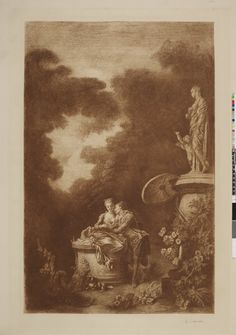 A park, with young man leaning on a young woman seated on a pedestal and reading a book; statue of Venus and Cupid at right; after Fragonard; printed in red Jean Honore Fragonard, British Museum, Young Man, Cupid, Pedestal, Venus, Books To Read, Statue, Park
