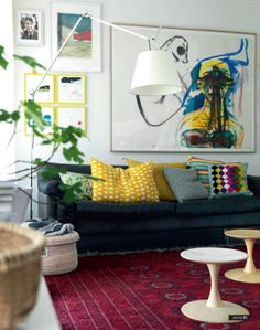Complementary Contrasts: Oriental Rugs (and Kilims) with Modern Decor. Red yellow blue black whites-and-lights