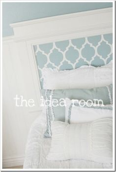 """Complete instructions for this hip """"big girl"""" headboard are shared here. Headboard stencil found here. Paint found here. Using 30 IKEA Malma mirrors, the homeowner created a sophisticated headboard. Adhesive squares were used to attach the lightweight mirrors to the wall. Image from here. """"Fashion your own graphic headboard with playful and chic stencils. To ...continue reading"""