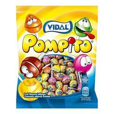 Los Pompito Surtido de Vidal son los clásicos chupachups con sabores surtidos de fruta como fresa, cereza, limón, naranja, sandía y cola. Sin Gluten, Box, Strawberry Fruit, Syrup, Candy, Celiac, Goodies, Orange, Glutenfree